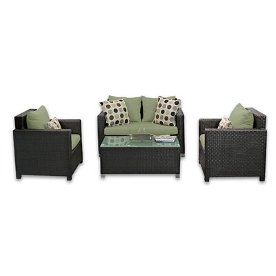 Skye Venice 4 Piece Lounge Seating Group with Cushions Fabric: Cilantro