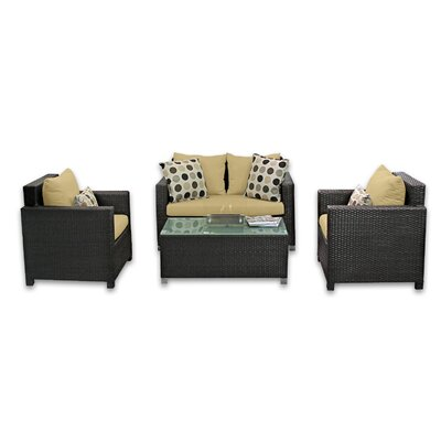 Skye Venice 4 Piece Lounge Seating Group with Cushions Fabric: Daffodil