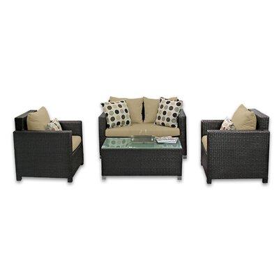Skye Venice 4 Piece Lounge Seating Group with Cushions Fabric: Dijon
