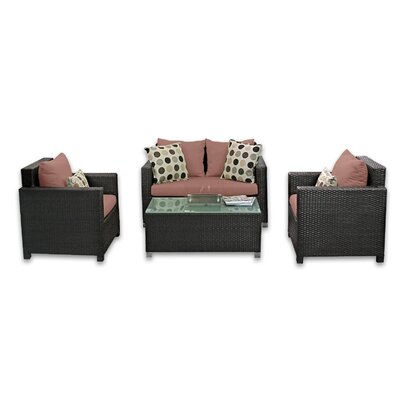 Skye Venice 4 Piece Lounge Seating Group with Cushions Fabric: Grenadine