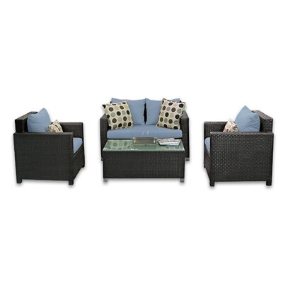 Skye Venice 4 Piece Lounge Seating Group with Cushions Fabric: Sailor