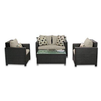 Skye Venice 4 Piece Lounge Seating Group with Cushions Fabric: Sand