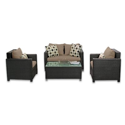 Skye Venice 4 Piece Lounge Seating Group with Cushions Fabric: Sierra
