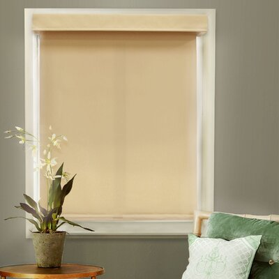 Mountain Cordless Privacy Thermal Roller Shade Color: Almond, Size: 27 W x 72 L x 2 D