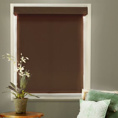 Mountain Room Darkening Roller Shade Size: 39 W x 72 L x 2 D, Color: Chocolate