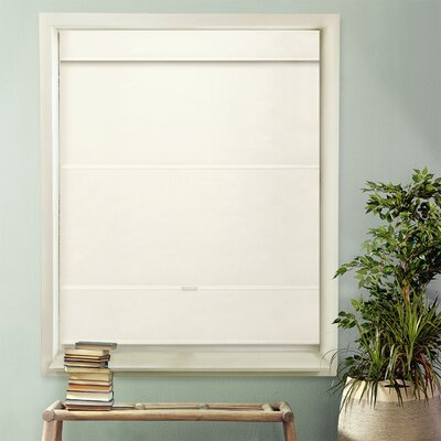 Luxurious Magnetic Room Darkening Roman Shade Blind Size: 39W x 64L, Color: Mountain Snow