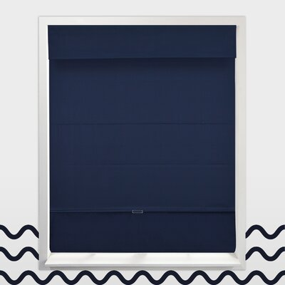 Cordless Magnetic Thermal Roman Shade Size: 27 W x 64 H, Color: Navy