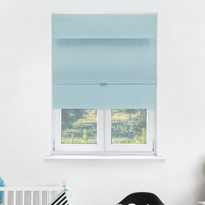 Cordless Magnetic Thermal Roman Shade Size: 35 W x 64 H, Color: Baby Blue