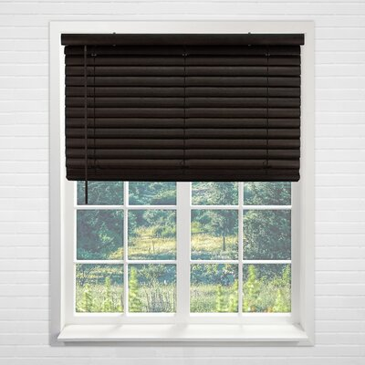 Cordless Vinyl Dark Walnut Horizontal/Venetian Blind Size: 48 W x 64 H