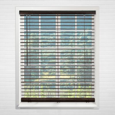 Cordless Vinyl Dark Walnut Horizontal/Venetian Blind Size: 35 W x 64 H