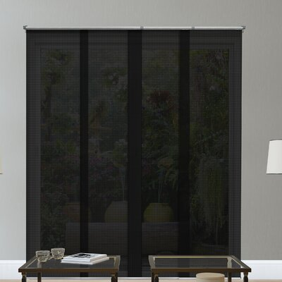 Adjustable Sliding Panel Outdoor Solar Shade Color: Black