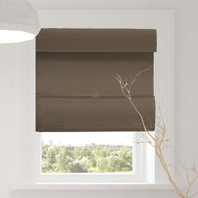 Luxurious Magnetic Room Darkening Roman Shade Blind Size: 33W x 64L, Color: Grounded Brown