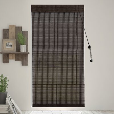 Bamboo Semi-Sheer Roman Shade Blind Size: 39 W x 64 L, Color: Black