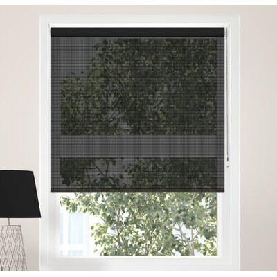 Continuous Loop Beaded Chain Sheer Roller Shade Blind Size: 24W x 72L, Color: Midnight Black (Solar)