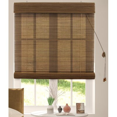 Textured Semi-Sheer Roman Shade Blind Size: 39W x 64L, Color: Acorn