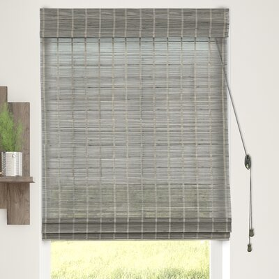 Textured Semi-Sheer Roman Shade Blind Size: 34W x 64L, Color: Koala