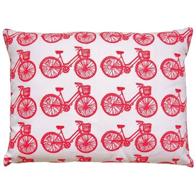 Bike All Over Pattern Block Print Accent Cotton Throw Pillow