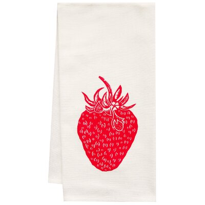 Organic Strawberry Block Print Tea Towel