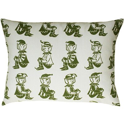Elf All Over Pattern Block Print Accent Cotton Throw Pillow