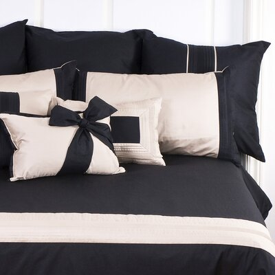 Tux Black Sham Size: Standard, Color: Black with Pewter Band
