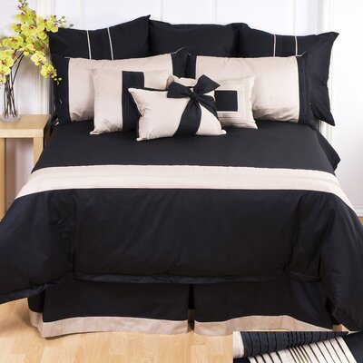 Tux Duvet Cover Size: Full, Color: Taupe with Ivory Band