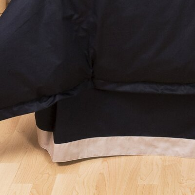 Tux Black Bed Skirt Size: King, Color: Pewter with Black Band