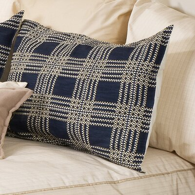 Carlton Sham Fabric: Blue Plaid, Size: Queen