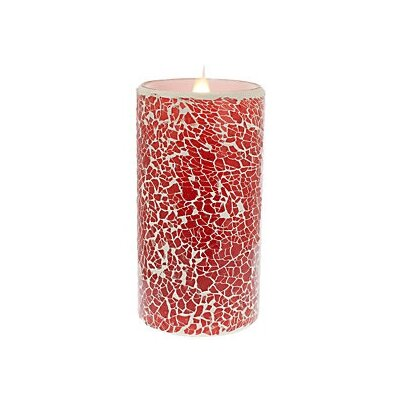 "Crackled Mosaic Virtual Flame Unscented Flameless Candle Size: 6"" H x 3"" W x 3"" D BLMK4646 44374782"