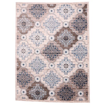 Island Light Beige/Light Blue Area Rug Rug Size: 33 x 411