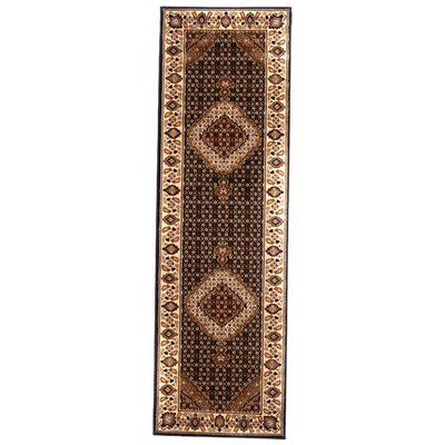Brillante Ebony/Cream Area Rug Rug Size: Runner 23 x 76