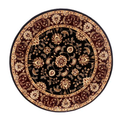 Brillante Ebony/Red Area Rug Rug Size: Round 5'7