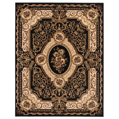 Brillante Ebony/Cream Area Rug Rug Size: 86 x 116