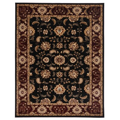 Brillante Ebony/Red Area Rug Rug Size: 4'11