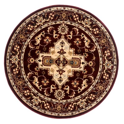 Brillante Cream/Red Area Rug Rug Size: Round 57