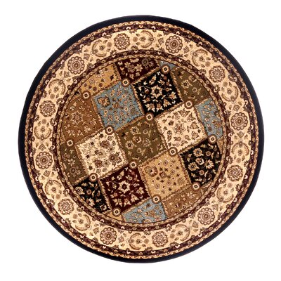 Brillante Ebony/Cream Area Rug Rug Size: Round 57