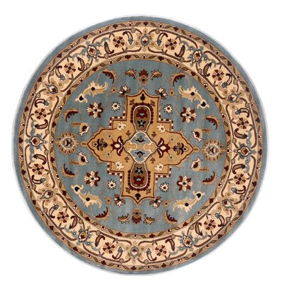 Brillante Blue/Cream Area Rug Rug Size: Round 57