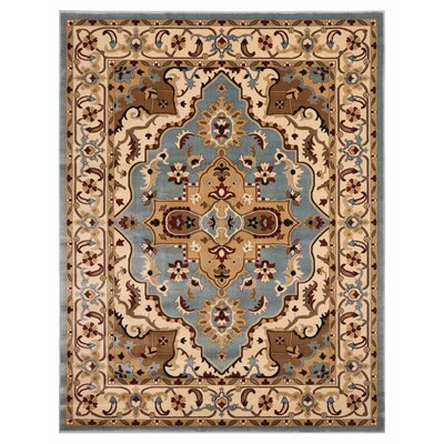 Brillante Blue/Cream Area Rug Rug Size: 76 x 910