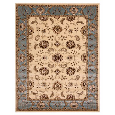 Brillante Cream/Blue Area Rug Rug Size: 33 x 411