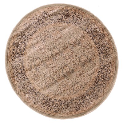 Jas Light Brown Area Rug Rug Size: Round 57
