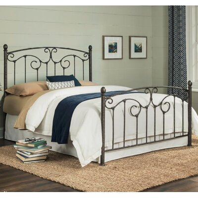 Marcy Complete Metal Panel Bed with Sloping Top Rails and Vertical Spindles Size: Queen