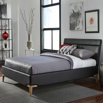Leonide Upholstered Platform Bed Color: Obsldian, Size: Queen