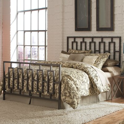 Flaugher Bed with Squared Tube Metal Duo Panels and Geometric Design Size: California King