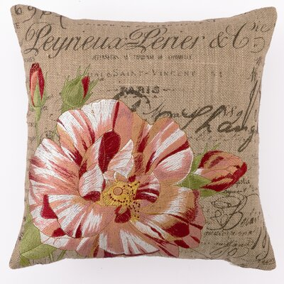 Embroidered Candystripe Rose Linen Throw Pillow