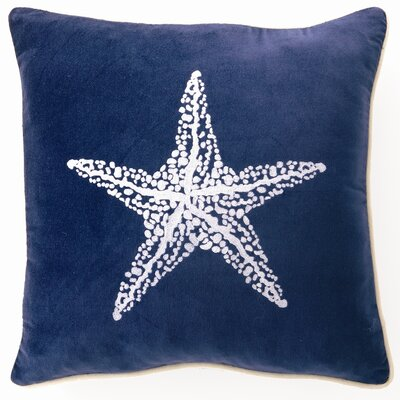 Embroidered Starfish Linen Throw Pillow