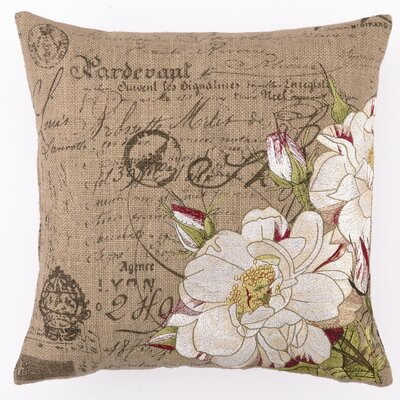 Embroidered Tipped Rose Linen Throw Pillow