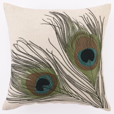Embroidered Double Peacocks Linen Throw Pillow