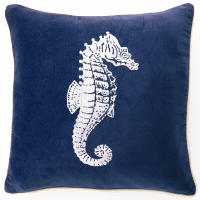 Embroidered Seahorse Linen Throw Pillow