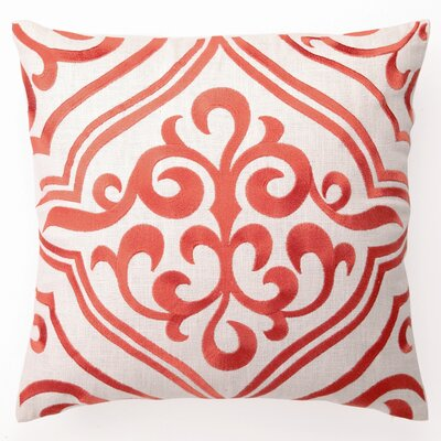 Embroidered Tile Linen Throw Pillow Color: Mango
