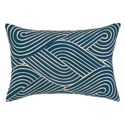 Osaka Waves Embroidered Decorative Linen Lumbar Pillow Color: Navy