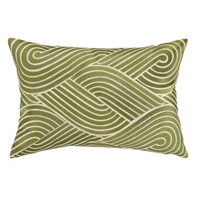 Osaka Waves Embroidered Decorative Linen Lumbar Pillow Color: Moss